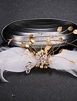 Dame Fjer / Rhinsten / Messing / Imiteret Perle Medaljon-Bryllup / Speciel Lejlighed Hårnål 1 Stykke Sølv Pære 19cm