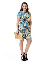 Women's Plus Size Floral Dress Large Size Print Casual Club Dress Fashion Party Dress