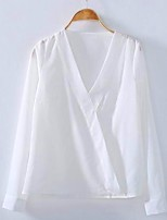 Women's Casual/Daily Simple Summer Blouse,Solid V Neck Long Sleeve White Cotton Thin