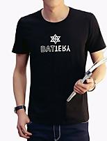Herren T-shirt-Buchstabe Freizeit / Übergröße Baumwolle / Elasthan Kurz-Schwarz / Weiß