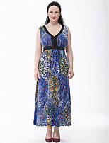 Women's Beach / Plus Size Boho Swing Dress,Print Deep V Maxi Sleeveless Blue Cotton / Polyester Summer