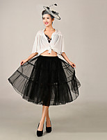 Slips Ball Gown Slip Knee-Length 3 Tulle Netting / Polyester Petticoats Red / Black