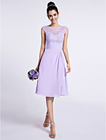 Lanting Bride Knee-length Chiffon Bridesmaid Dress A-line Jewel with Appliques