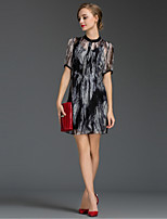 Women's Going out Sophisticated Loose Dress,Print Round Neck Above Knee Short Sleeve Black Silk Summer