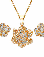 Fashion Temperament Roses Inlaid  Rhinestones Necklace Earring Luxury Gold Jewelry Sets