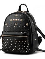 M.Plus® Women's Fashion Korean Solid Rivet PU Leather Backpack
