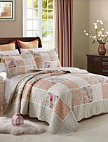 100% Cotton Rose 3 pieces Quilted Bedspread set , King Size