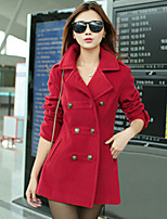 Women's Casual/Daily Simple Coat,Solid Shirt Collar Long Sleeve Winter Blue / Red / Black Wool Thick