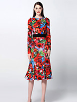 Boutique S Women's Going out Sophisticated Sheath Dress,Floral Crew Neck Midi Long Sleeve Red Rayon / Polyester