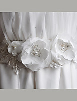 Satin /  Chiffon / Lace Wedding / Party/ Evening / Dailywear Sash-Floral / Imitation Pearl Women's 86 ½in(220cm)Floral /