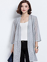 Women's Going out Sophisticated Cardigan,Solid Pink / White / Black / Gray Long Sleeve Cotton Summer Translucent