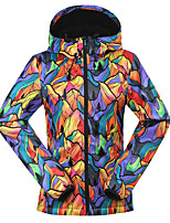gsou sneeuw fashion populaire geel patroon ski-jacks / vrouwen waterdicht winddicht softshell ski-wear