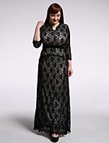 Women's Holiday / Plus Size Boho Trumpet/Mermaid Dress,Polka Dot Asymmetrical Maxi ¾ Sleeve Black Spandex Summer