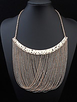 Exaggerated Big Metal Necklace Accessories Multilayer Tassel Necklace