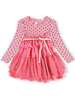 2016 Children Girls Spring/Autumn Pink/White Dots Long Sleeve Mesh Lace Dress,Girls High Waist Girls Dress for 2~7Years