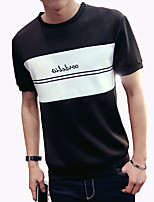 Men's Fashion Personalized Letter Pachwork O Neck Slim Fit Short-Sleeve T-Shirt;Casual/Print/Plus Size