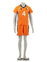 Inspired by Haikyuu Nishinoya Yuu Anime Cosplay Costumes Cosplay Suits Color Block Blue / Orange Short Sleeve T-shirt / Shorts