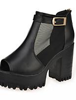 Women's Shoes PU Chunky Heel Open Toe Sandals Outdoor / Dress / Casual Black / White