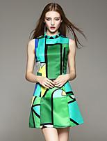 AFOLD® Women's Round Neck Sleeveless Above Knee Dress-5002