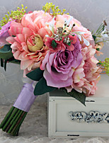 Wedding Flowers Free-form Peonies Birdal Bouquets Wedding Multi-color Satin