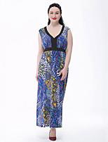 Для женщин Большие размеры Богемный С летящей юбкой Платье С принтом,Глубокий V-образный вырез Макси Без рукавов Полиэстер ЛетоС высокой