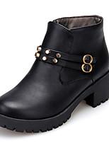 Черный / Коричневый / Желтый-Женская обувь-Для прогулок / На каждый день / Работа и обязанности-Дерматин-На толстом каблуке-Ботинки-
