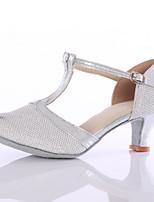 Women's Latin Paillette Heels Indoor Customized Heel Silver Customizable