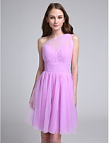 Lanting Bride Knee-length Tulle Bridesmaid Dress A-line One Shoulder with Side Draping / Ruching