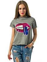 Tee-shirt Aux femmes,Imprimé Décontracté / Quotidien Chic de Rue Eté Manches Courtes Col Arrondi Gris Polyester Moyen