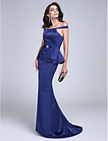 Formal Evening Dress Sheath / Column Off-the-shoulder Floor-length Charmeuse with Sash / Ribbon / Ruffles