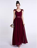 Lanting Bride Ankle-length Chiffon / Lace Bridesmaid Dress Sheath / Column V-neck with Beading / Lace / Bow(s)