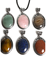 Beadia 38x67mm Vintage Antique Silver Plated Necklace Pendant With Stone (1Pc)