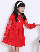 Girl's Casual/Daily Solid Dress,Rayon Spring / Fall Pink / Red / White