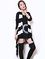 Women's Striped Black Coat , Casual Sleeveless Cotton Blends