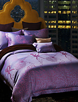 Bloemen Dekbedovertrek Sets 4-delig Zijde/Katoenmix Luxueus Jacquard Zijde/Katoenmix Queen / King4 stuks (1 dekbedovertrek, 1 bedsprei, 2