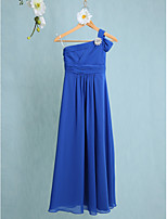 Lanting Bride Floor-length Chiffon Junior Bridesmaid Dress Sheath / Column One Shoulder with Side Draping / Crystal Brooch