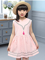 Girl's Cotton Summer Contracted V-Neck Elegant One-piece Dress