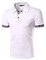 Men's National Wind Floral Stitching Short Sleeved Polo Shirt,Cotton / Polyester Casual Floral / Patchwork