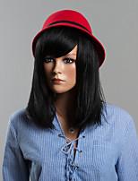 rectas largas pelucas de pelo humano para las mujeres elegantes explosión aseada pelucas negras