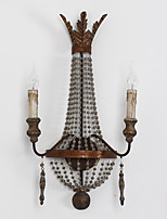 dobles cabezas de personalidad creativa lámpara de pared de madera de época tradicional para la luz de la pared decorar / cubierta del