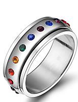 Unisex Rainbow Gay Pride Rhinestone Stainless Steel Band Ring