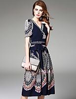 Ewheat® Women's Deep V Short Sleeve Tea-length Dress-H2307