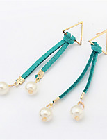 Simple And Stylish Atmosphere Triangle Earrings Pearl Pendant