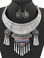 European Style Bohemian Vintage Simple Fashion Metal Choker Earring Sets