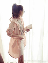 Women's Party/Cocktail Street chic Trench Coat,Solid V Neck Long Sleeve Summer Pink / White Cotton Medium