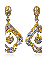 Vintage crystal White Cubic Zircon Drop Earrings For Women 18K Gold Plated Copper Earrings Party Daily Jewelry