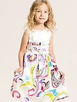 Girl's Cotton Spring/Summer Fashion Bowknot Round Collar Sleeveless Printing Dress