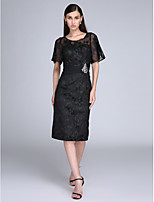 Cocktail Party Dress - Little Black Dress Sheath / Column Jewel Knee-length Lace with Crystal Detailing / Lace