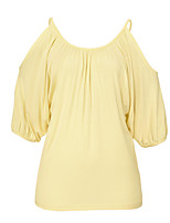 Women's Solid Yellow / Purple Blouse,Round Neck ½ Length Sleeve