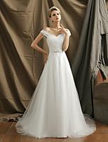 A-라인 웨딩 드레스 스윕 / 브러쉬 트레인 오프 더 숄더 튤 와 허리끈 / 리본